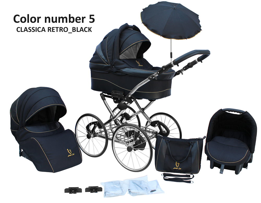 kinderwagen amberline classica retro black 3 in 1 set wanne buggy babyschale ebay. Black Bedroom Furniture Sets. Home Design Ideas